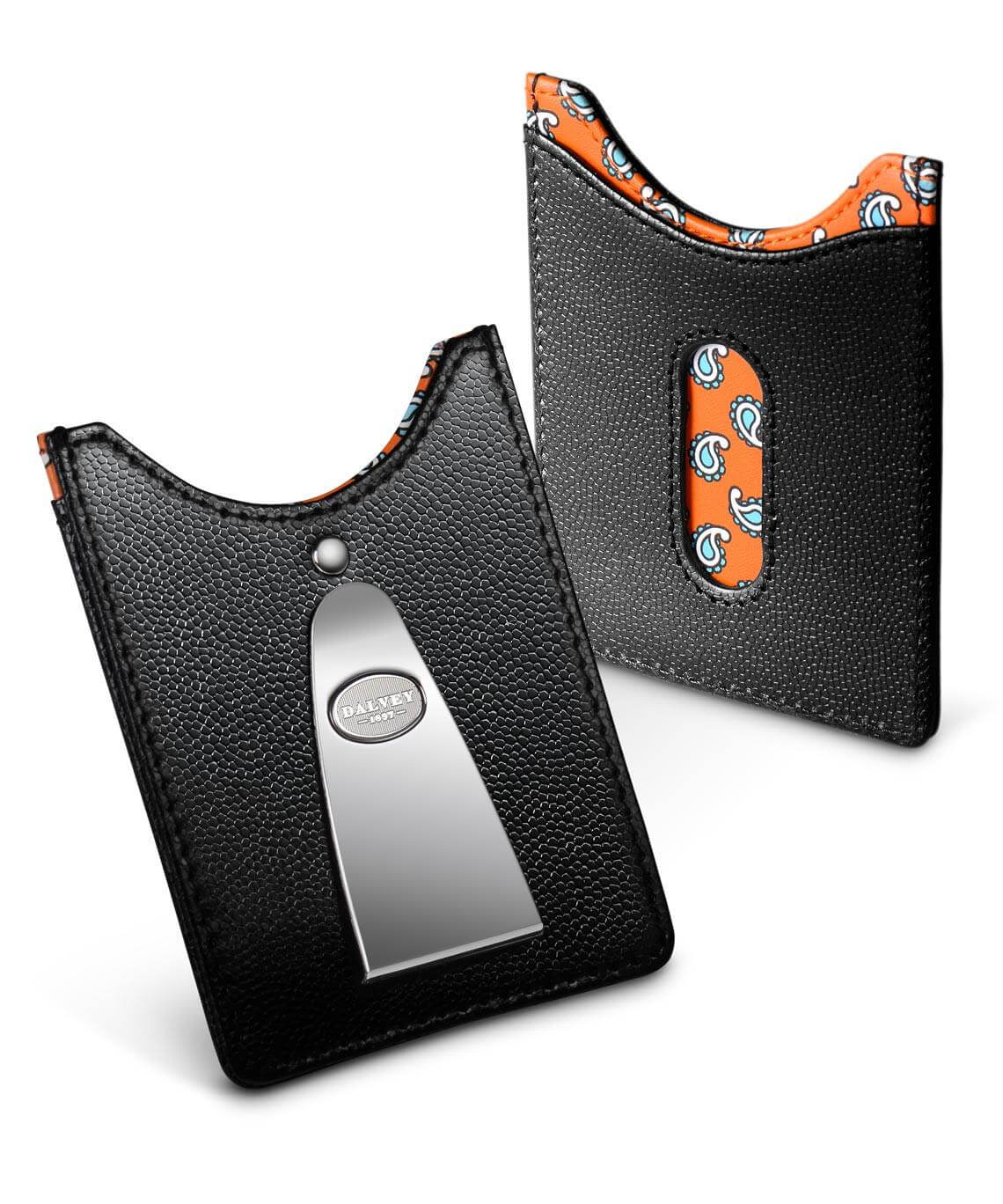 Access Credit Card & Money Clip - Black / Orange Paisley