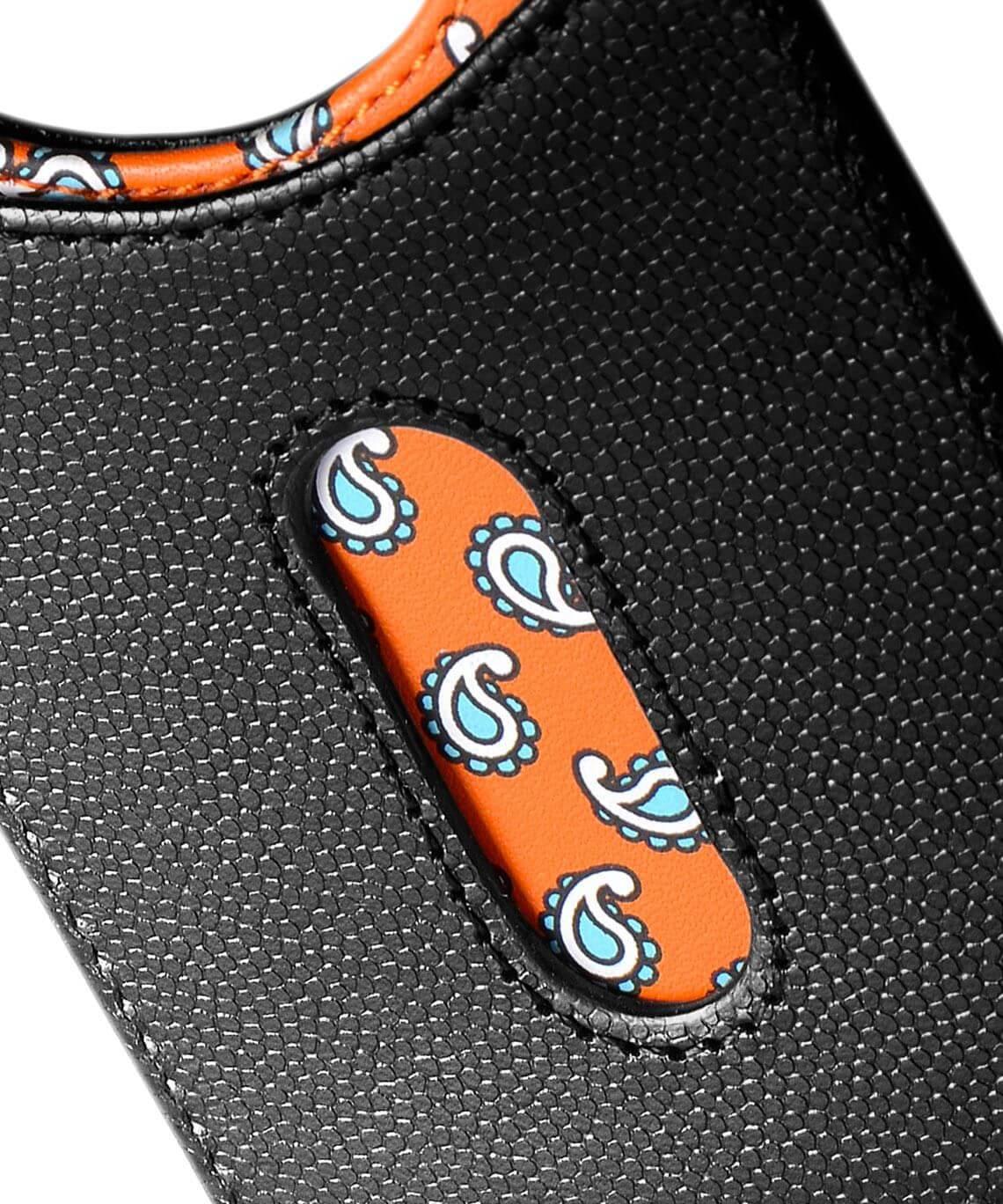 Access Credit Card & Money Clip - Black / Orange Paisley Closeup