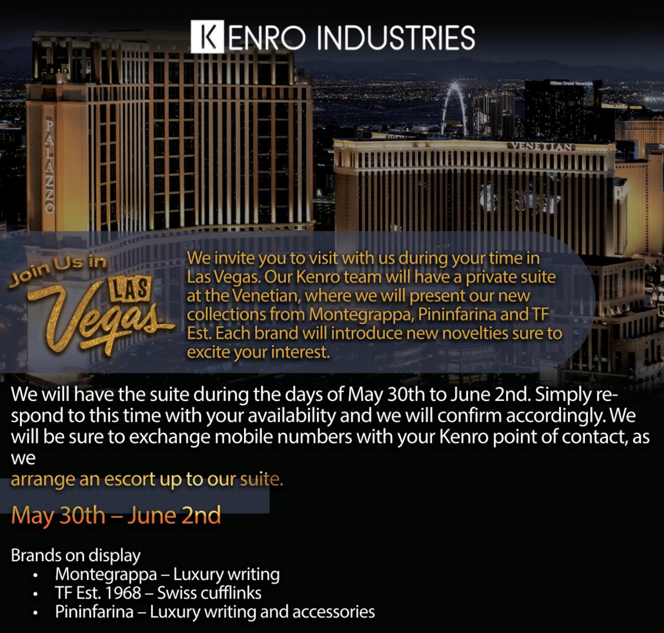 Las Vegas at the Venetian May 30th to June 3rd